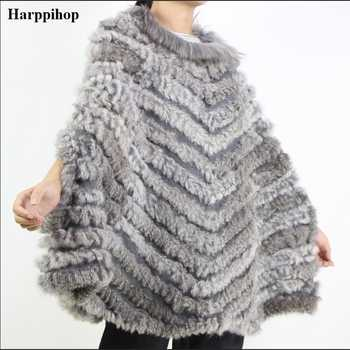 Women's Luxury Pullover Knitted Genuine Rabbit Fur Raccoon Fur Poncho Cape Real Fur Knitting Wraps Shawl Triangle Coat 2018 hot - DISCOUNT ITEM  49% OFF All Category