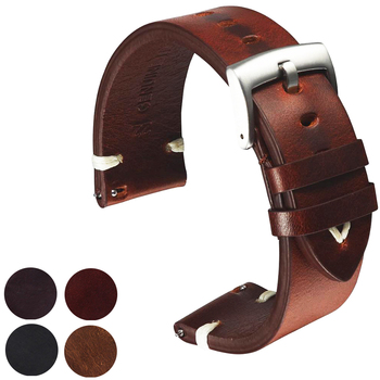 Leather Watchband Black Dark Brown Oil Wax Leather Watch Strap italian 18mm 20mm 22mm Quick Release Watch Belt Cowhide Handmade