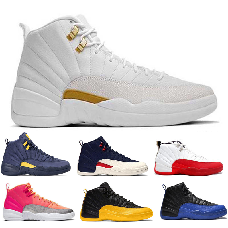 Basketball Shoes Men Retro 12 Playoff Gym Red White Black Game Royal Ball Hot Gold Sports Mens Sneaker Trainers Size 7-13