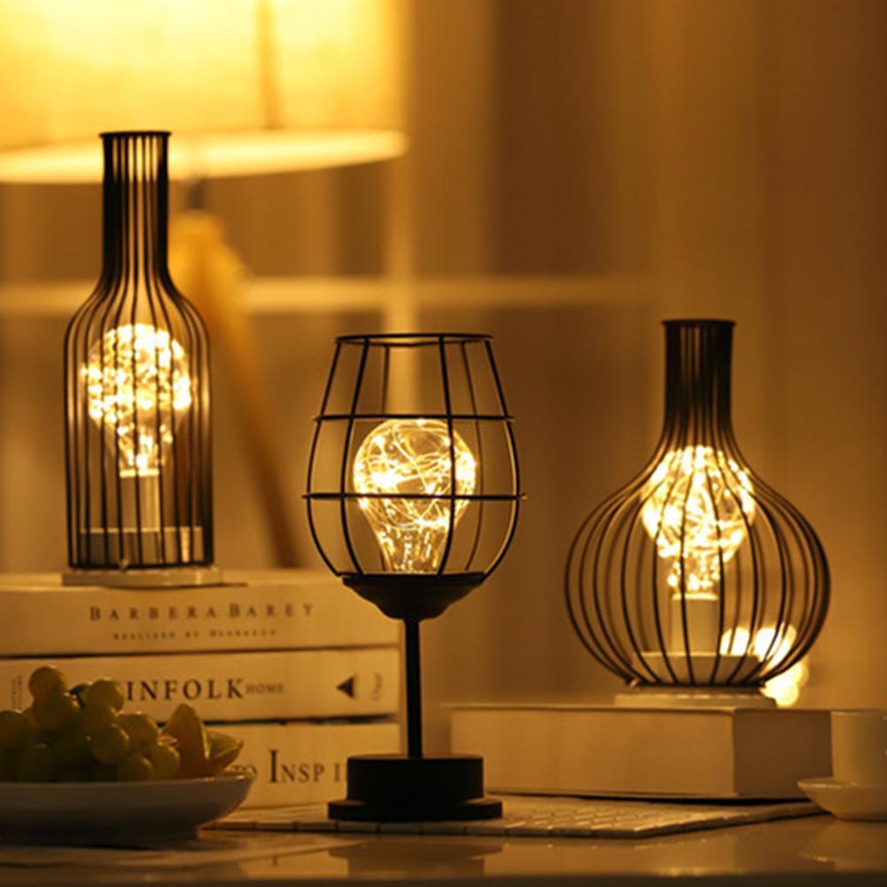 レトロクラシック鉄アート LED テーブルランプ読書ランプ夜の光の寝室ランプデスク照明リビングルームの家の装飾