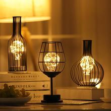 Lámpara de mesa de arte del hierro LED clásica Retro Lámpara de lectura lámpara de noche para dormitorio iluminación de escritorio sala de estar decoración del hogar