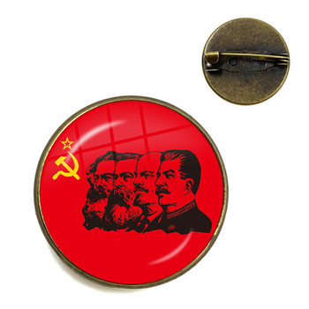 Soviet USSR Stalin Lenin Brooches Classic Red Star Hammer Sickle Communism Emblem CCCP Glass Cabochon Collar Pins Jewelry Gift image