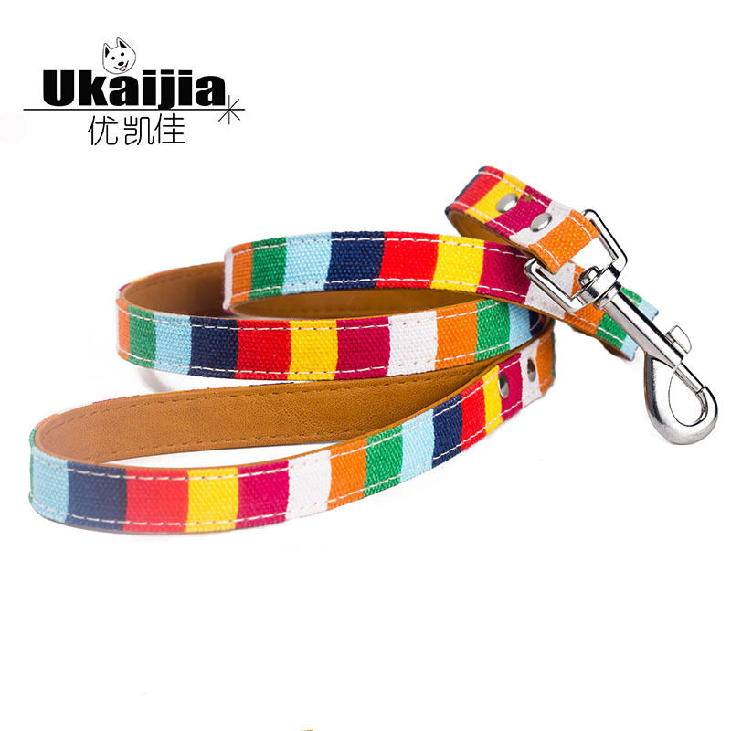 New Style Color Traction Belt Canvas + Pu Seven Colours Tiao Pet Traction Rope Pet Dog Lanyard