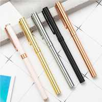 Gold Ballpoint Pen Creative 0.5mm Black /Blue Ink Pen Metal Roller Ball Pen Student Stationery School Office Supplies