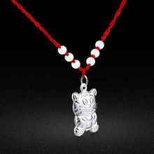 Chinese Zodiac silver jewelry Woman 925 sterling silver Animal Tiger Pendant red rope Necklace popular choker(China)