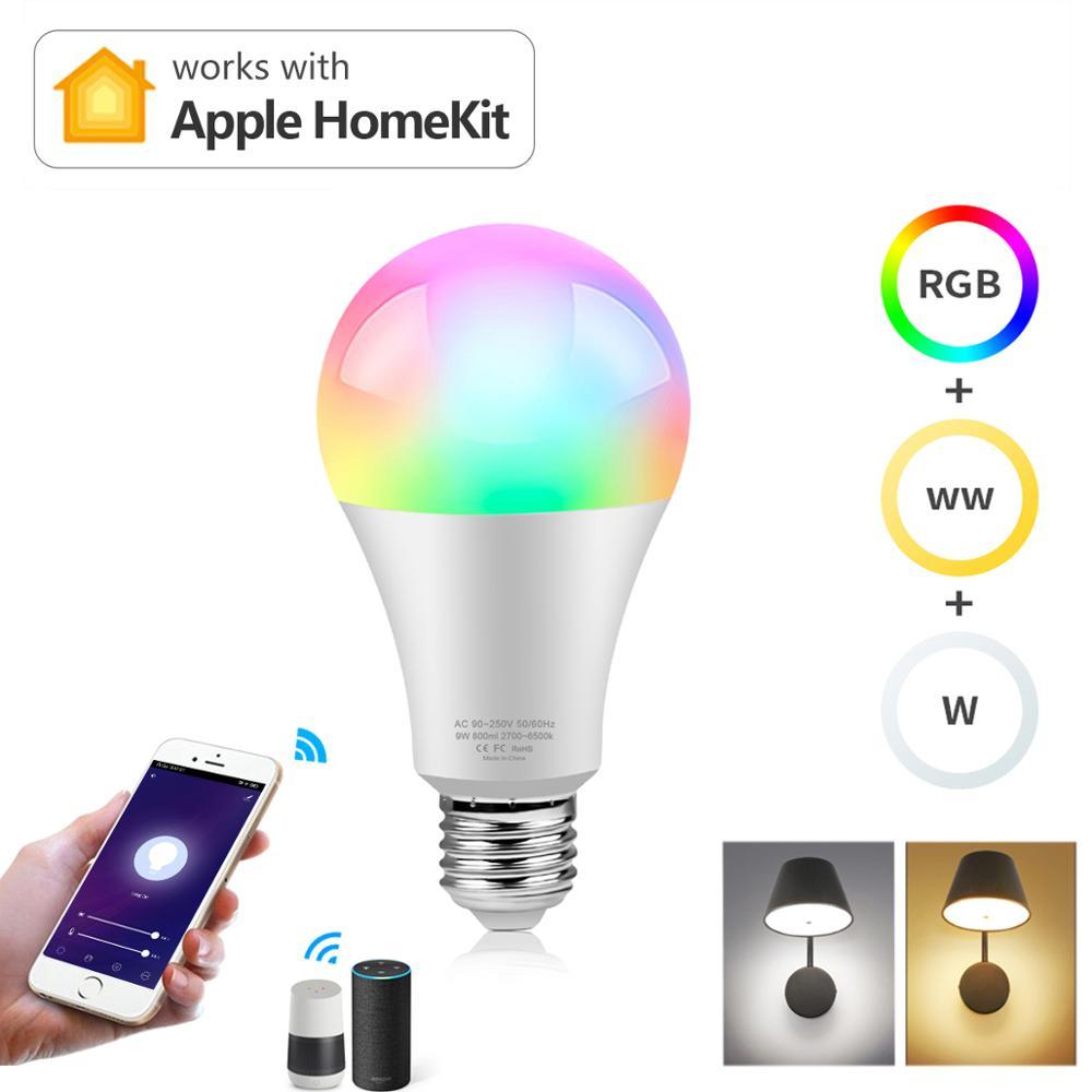 Wifi Smart RGB LED Light Bulbs Siri Voice APP Control Apple Home Lamps Kit E27