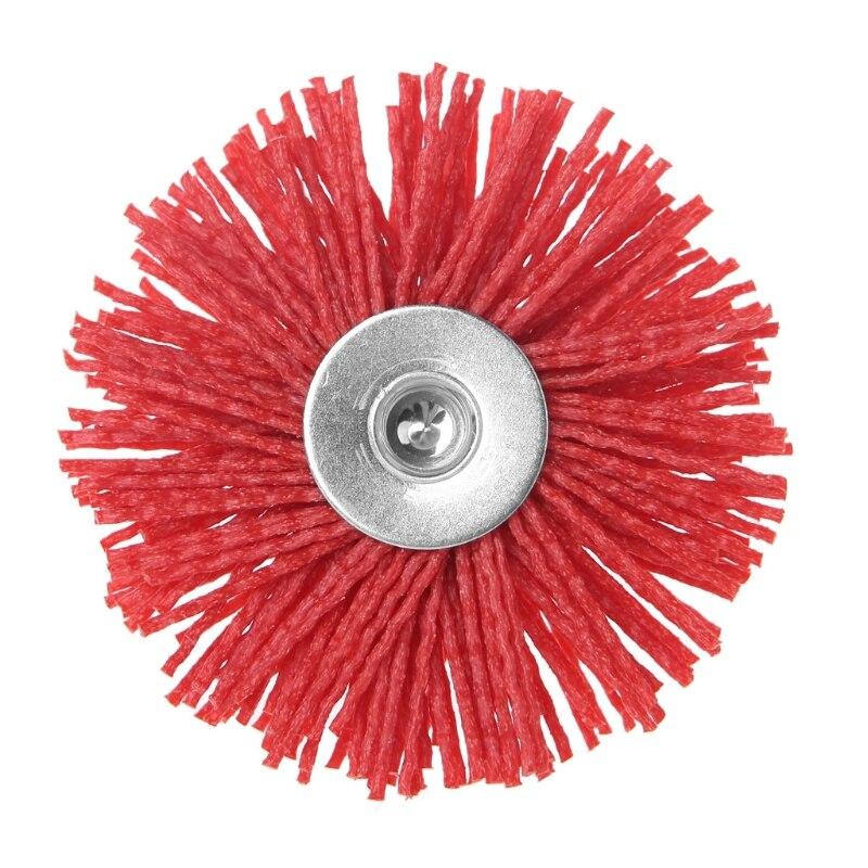Deburring Abrasive Steel Wire Brush Head Polishing Red Nylon Wheel Cup Shank 19QB