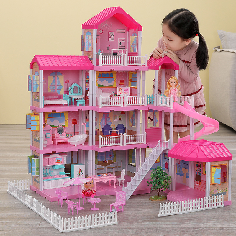 QWZ New Baby DIY Doll House Girls Pretend Toy Handmade Castle Dollhouse Birthday Gifts Educational Toys Doll Villa For Girl