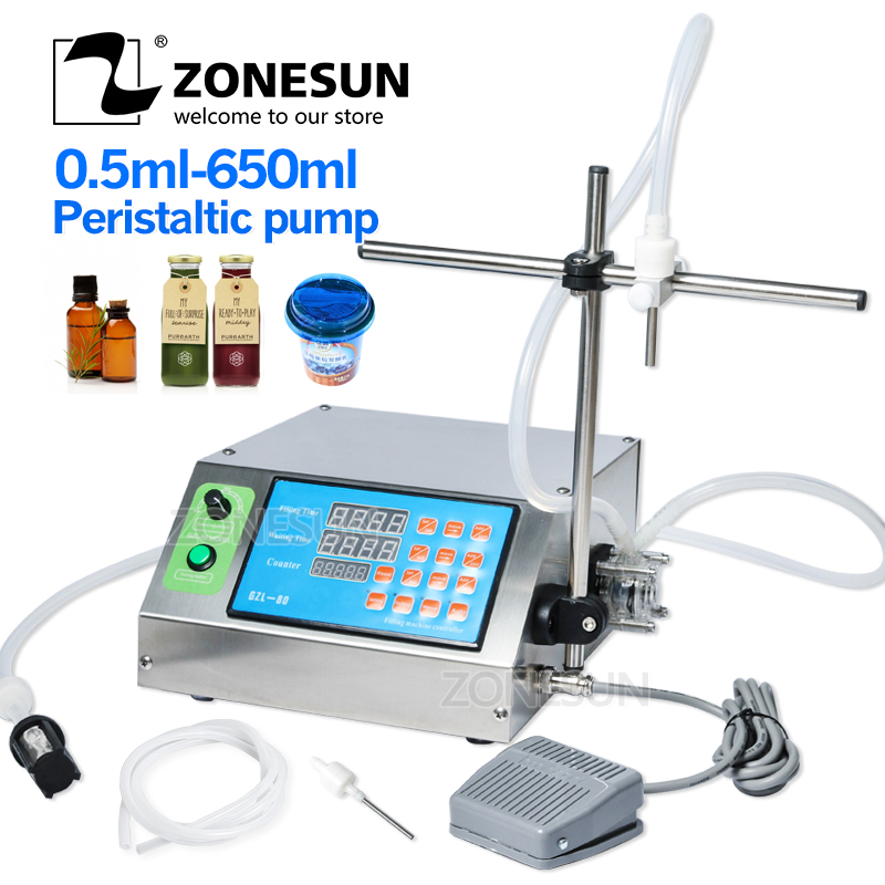ZONESUN Peristaltic Pump Bottle Water Filler Semi-automatic Liquid Vial Desk-top Filling Machine For Juice Beverage Oil Perfume