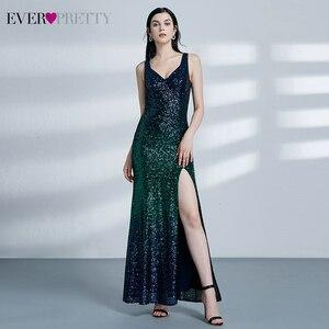 Image 4 - Sexy Meerjungfrau Abendkleider Lange Immer Ziemlich Pailletten V ausschnitt Side Split Sleeveless Sparkle Formale Party Kleider Abendkleider 2020