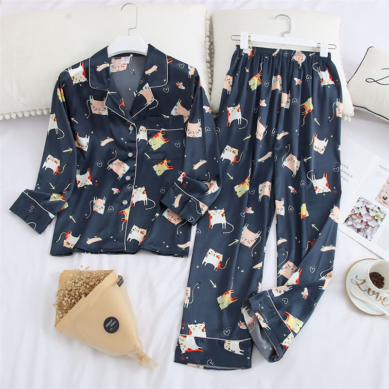 Lovers 2PCS Shirt&Pants Male Animal Pijamas Suit With Button Turn-down Collar Sleep Set Nightwear Casual Negligee Soft Sleepwear