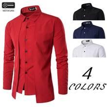 MITEKSAN поддельная двухсекционная рубашка мужская белая с длинным рукавом Повседневная индивидуальная двухдверная модная блузка Camisas вечерние