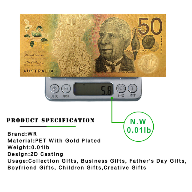 Wr 5,10, 20,50, 100, 호주 달러 가짜 돈 금 지폐 지폐 빌 은행 참고 원래 선물 dropshipping