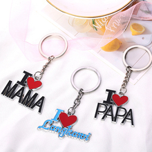 Papa Mama Heart Pendant Keychain Word Keyring Key Holder Decor Accessories Family Couple Gift