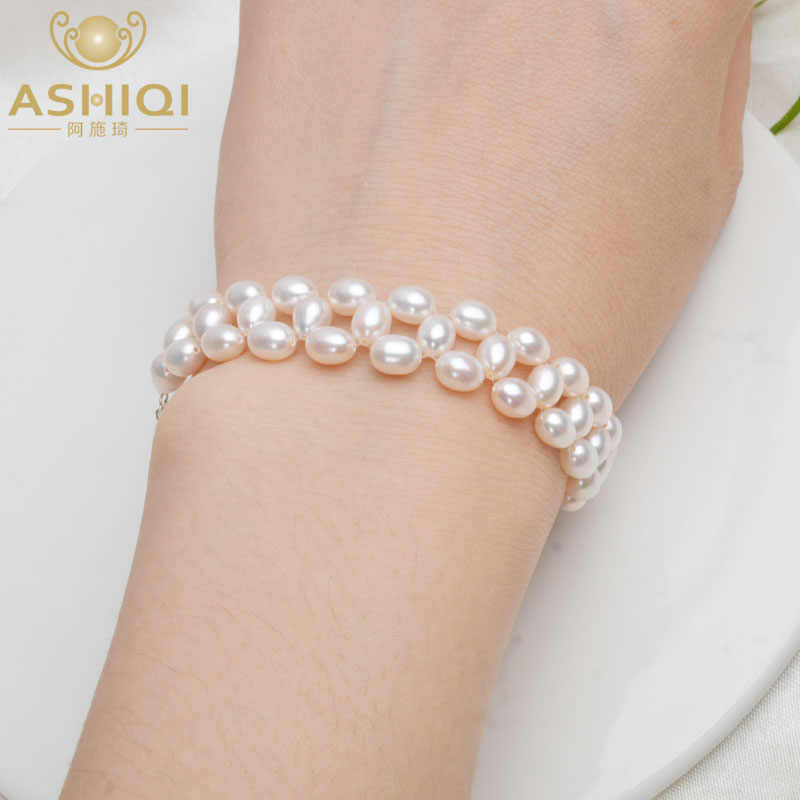 ASHIQI Genuine Natural Freshwater Pearl Bracelet 925 Sterling silver clasp 4.5-5mm pearl handmade Weaving for women