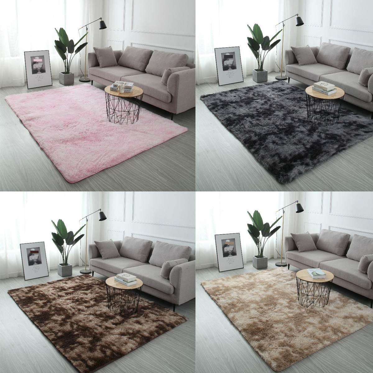 Gradient Color Modern Home Silk Hair Carpet Living Room Decoration Bedroom Non-slip Carpet Soft And Lint Ball Household Items