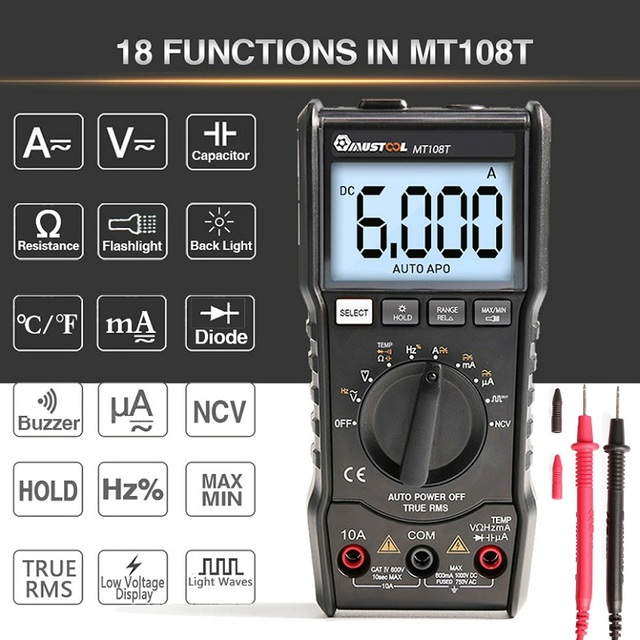 MUSTOOL MT108T cyfrowy multimetr 6000 liczy True RMS NCV urządzenie do pomiaru temperatury prostokątna fala wyjście podświetlenie miernik elektroniczny