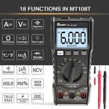 MUSTOOL MT108T dijital multimetre 6000 sayımlar True RMS NCV sıcaklık test cihazı kare dalga çıkışı arkadan aydınlatmalı elektronik sayaç