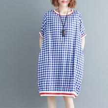#0114 Summer Casual Red/Blue Plaid Dress Women Plus