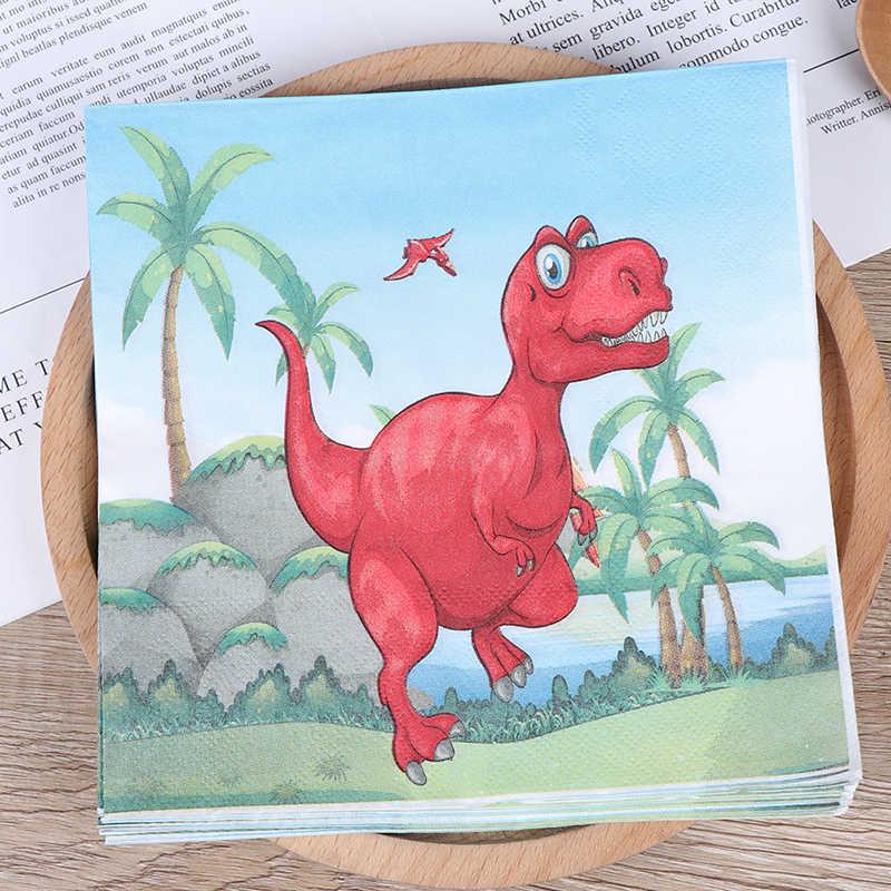 Guardanapos de papel descartáveis do tema do dinossauro das decorações da festa do dinossauro de 20 unidades/pacote guardanapos de papel do dinossauro