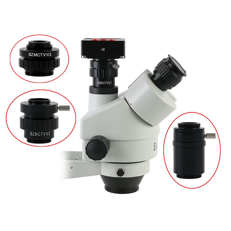 0.3X 0.5X C Mount Lens Adapter SZMCTV 1/2 1/3 1X Adapter For Simul Focal Trinocular Stereo Microscope HDMI VGA USB Video Camera