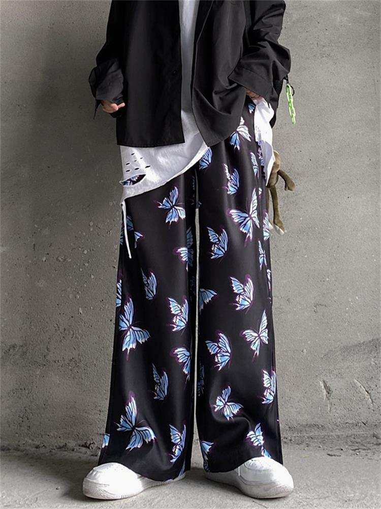 Pants Men Trousers Streetwear Cotton Joggers Harajuku Hip-Hop Loose Baggy Harem Butterfly
