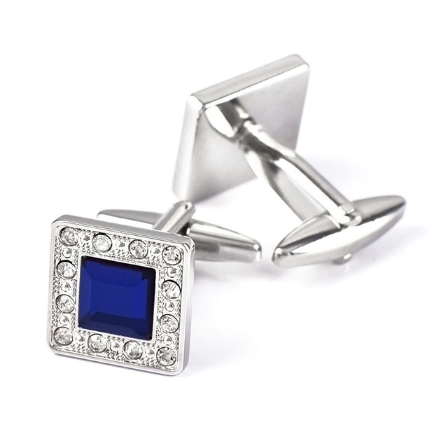 Metal Blue Crystal  Classic  Luxury Cufflinks 1