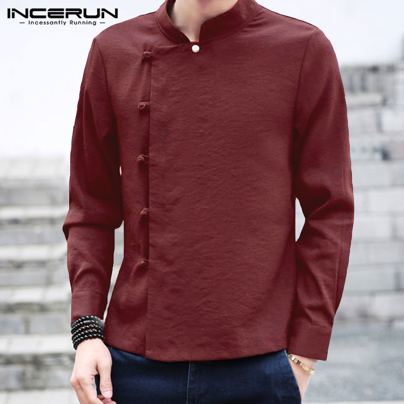INCERUN Chinese Traditional Shirt Men Retro Cotton Solid Long Sleeve Tang Suit Button Stand Collar Casual Men Shirts 2019 Autumn