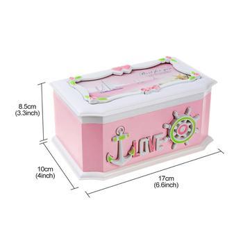 Saim Music Box Pink Creative Sailing Decor Jewel Storage Case Music Jewelry Box Clockwork Plastic