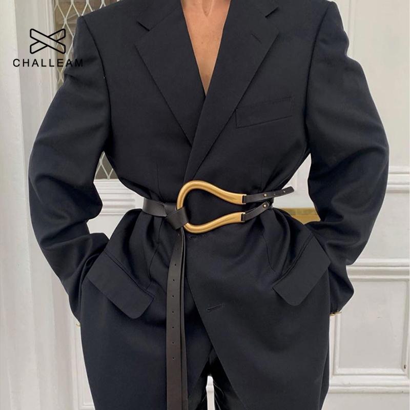 Wild ladies belt women belt light luxury personality curved metal horseshoe buckle large U shaped fashion x209