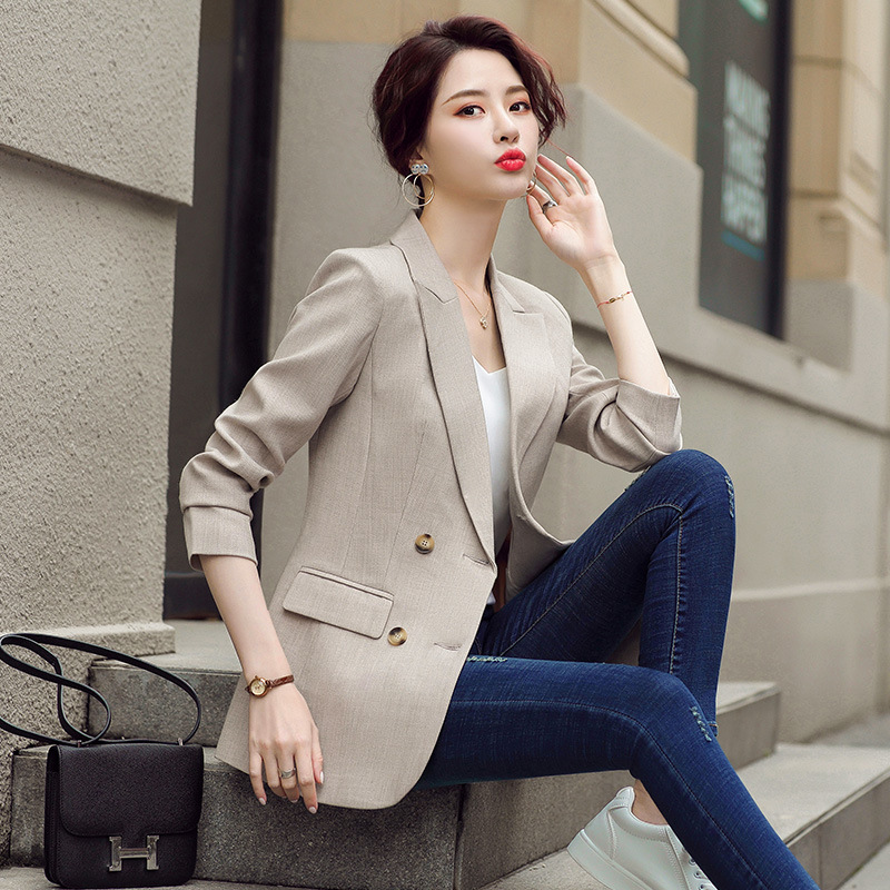 Professional women's Blazer 2020 new autumn women's casual ladies suit jacket office High-quality mid-length jacket