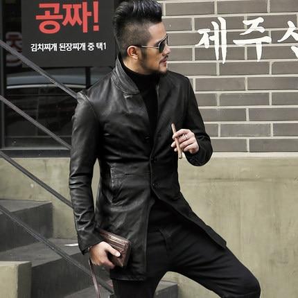 2019 Men autumn genuine leather jacket fashion solid sheepskin European style coat men motorcycle biker's  leather jacket new