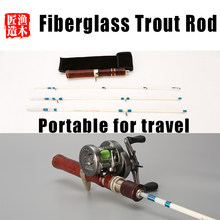 Wood Hand-made Fiberglass Trout Rod UL Super Soft And Ultra Light 1.55m Four-Section Portable Travel Stream Ejection Fishing Rod