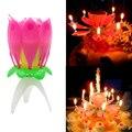 Однослойные свечи лотоса Волшебные музыкальные с днем рождения Романтические цветы торт восковые свечи декоративные детские подарки