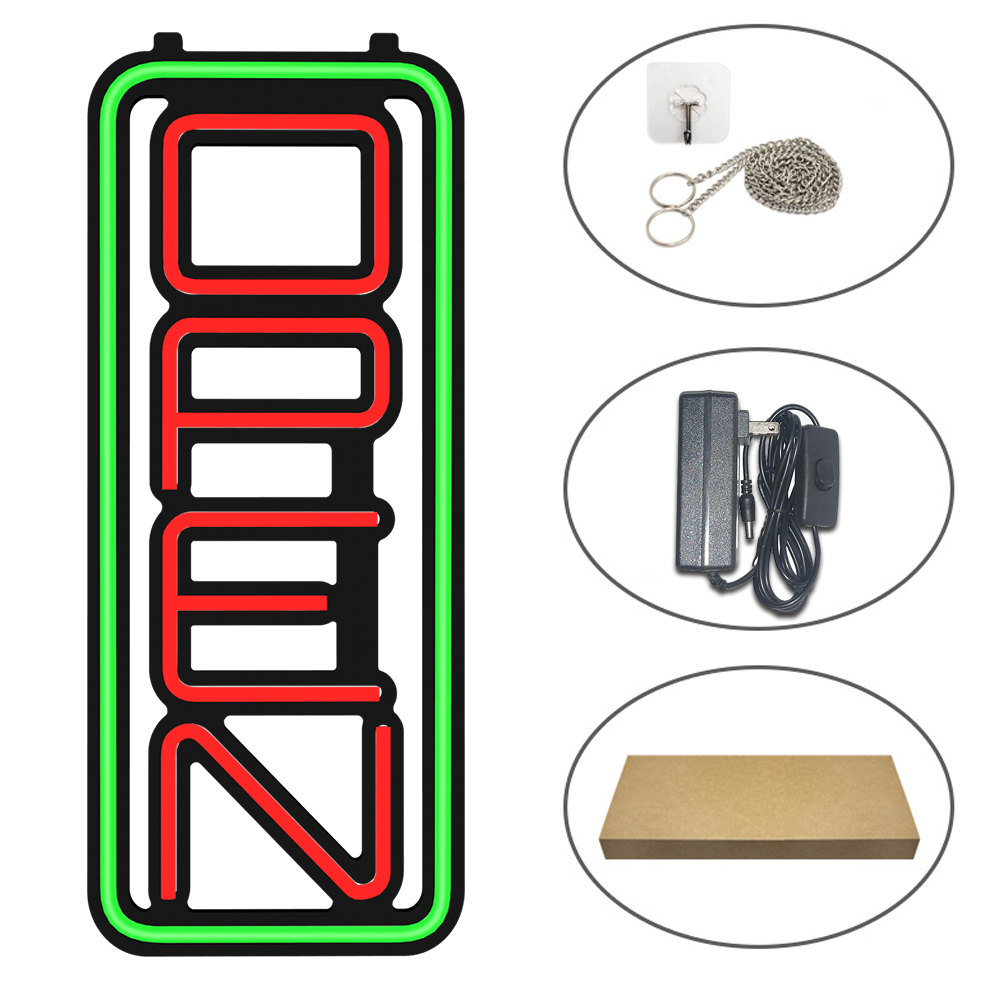 Hot Sell DC 12V Vertical Style Super Brightness LED Neon Open Sign For Store Shop Bar Advertising Use