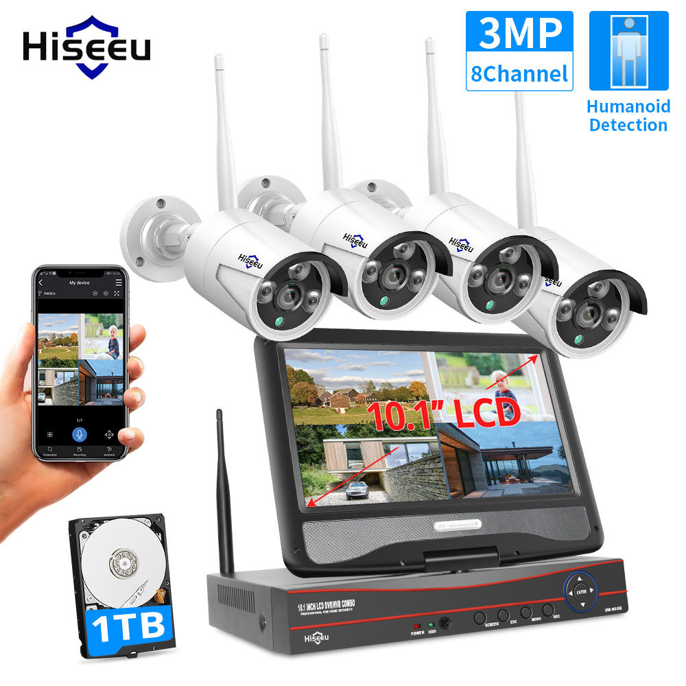 Hiseeu 8CH 3MP 1536P Wireless Security Cameras Kit Outdoor Waterproof 1080P 2MP IP Camera CCTV System Set with 10 1inch Monitor NVR