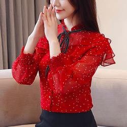 Chiffon Shirt Female 2019 Spring New Style Tops Slim Fit Polka Dot Chiffon Shirt Bow Wave Edge Tops Women's Long-Sleeve