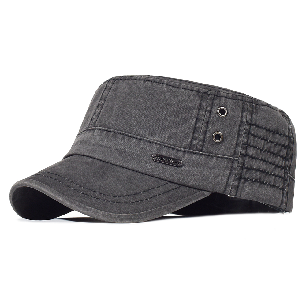 Men Washed Cotton Military Hats Adjustable Cadet Army Caps Unique Design Vintage Casual Flat Top Cap with Air Hole Black