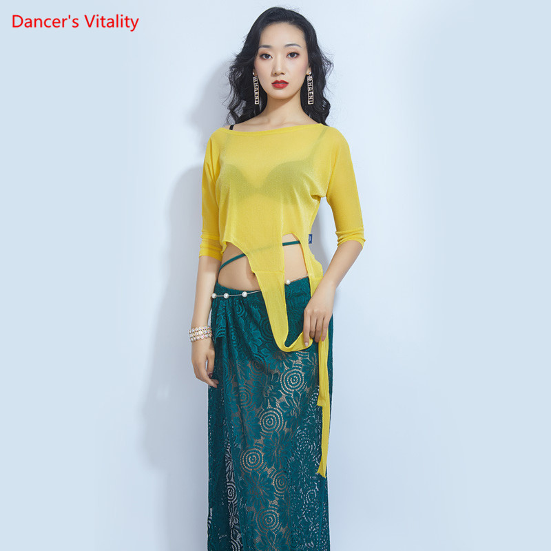 Belly Dance New Set Solid Color Dance Top Beginner Dance Lace Dress Practice Clothes Oriental Dance Dance Practice Clothes