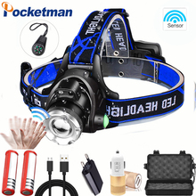 IR Sensor LED Headlamp Fishing lamp Super bright Headlight Use T6/L2/V6 beads Support zoom Powered by 18650 battery s41
