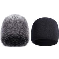 Microfone capa esponja microfone pára brisas para yeti azul  yeti pro microfone condensador (esponja e pára brisas peludo  2 pacote)|Acessórios de microfone| |  -
