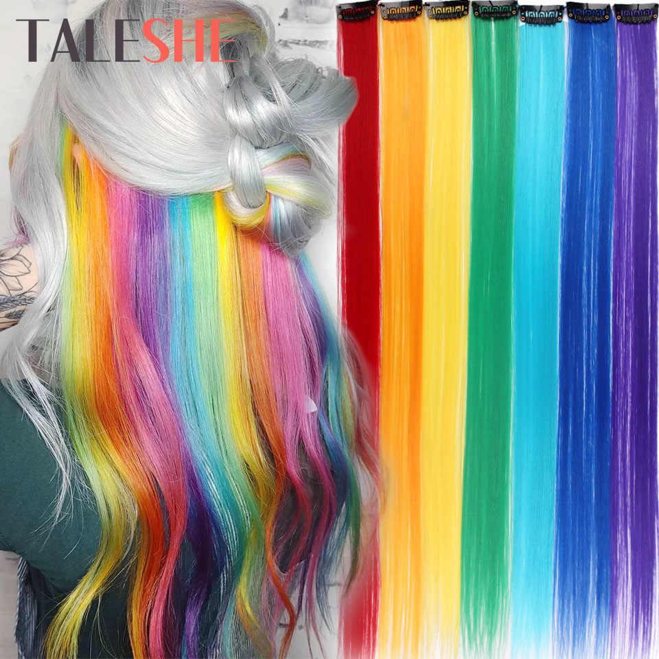 TALESHE طويل مستقيم كليب في قطعة واحدة وصلات شعر 20 بوصة 50 سنتيمتر شعر مستعار الاصطناعية للنساء الفتيات قوس قزح اللون الوردي