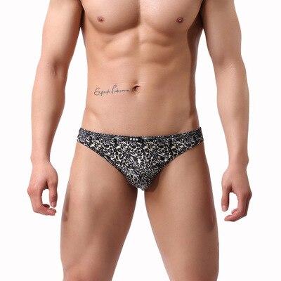 2019 Brand Howe Ray Men's Gay Underwear Low Waist Leopard Print Briefs Male Panties Underpants U Convex Penis Pouch Cueca Briefs