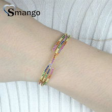 Wholesale Copper Micro Pave CZ Charm Bangle In Gold Colors Top Quality Plating of 3,5,10PCS,B0106