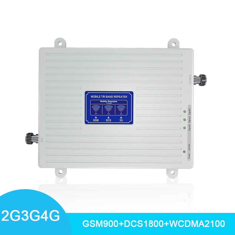 2G 3G 4G Tri Band Cellular Signal Booster GSM 900 4G DCS/LTE 1800 WCDMA 2100mhz Cell Phone Signal Amplifier 70dB Repeater