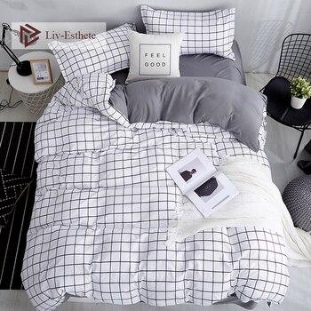 Liv-Esthete Fashion Classic Black Grid Bedding Set Double Queen King Bed Linen Soft Duvet Cover Pillowcase Flat Sheet For Adult allover grid print sheet set