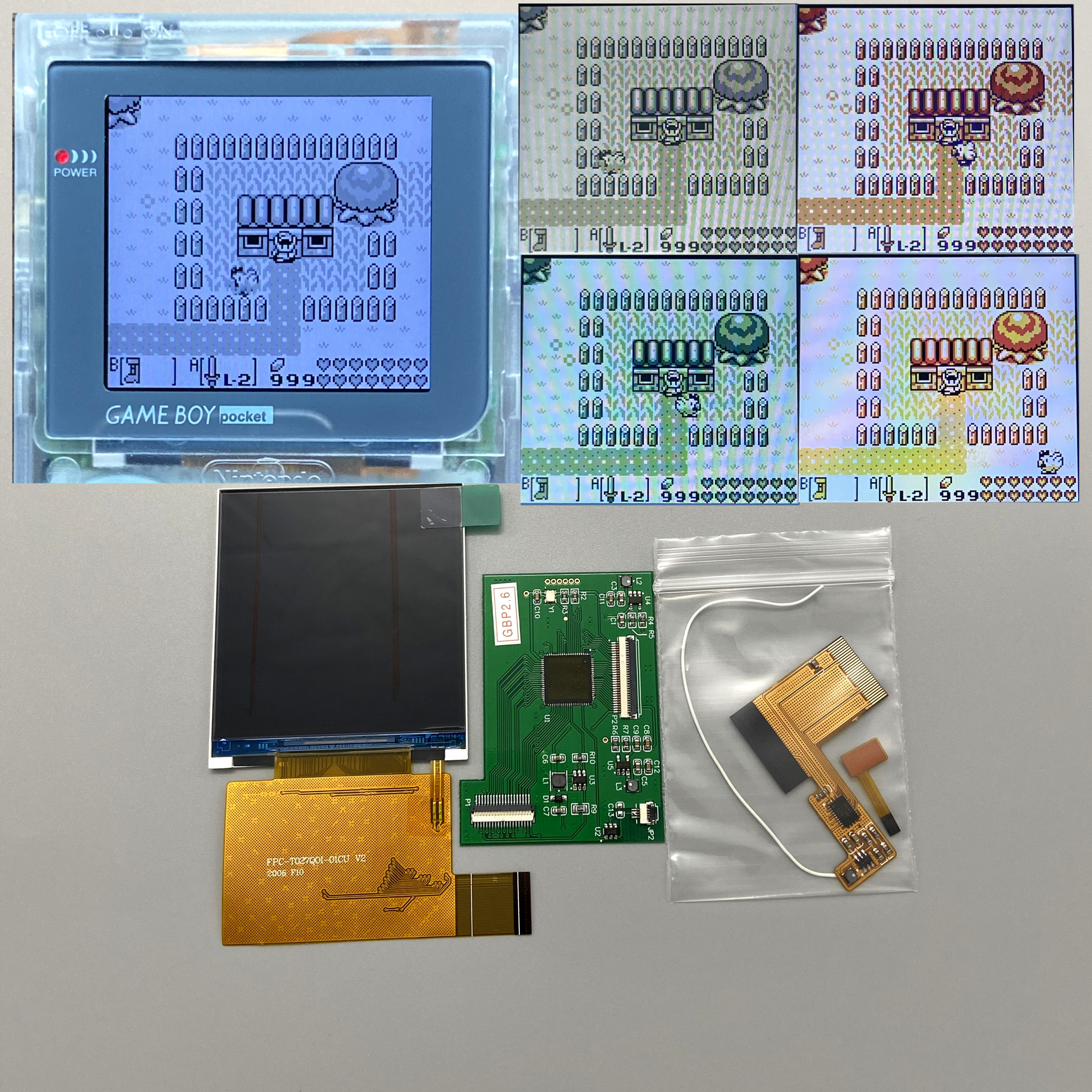Easy to install 2 6 inchoriginal size IPS high brightness LCD screen is suitable for Nintendo Gameboy pocket GBP