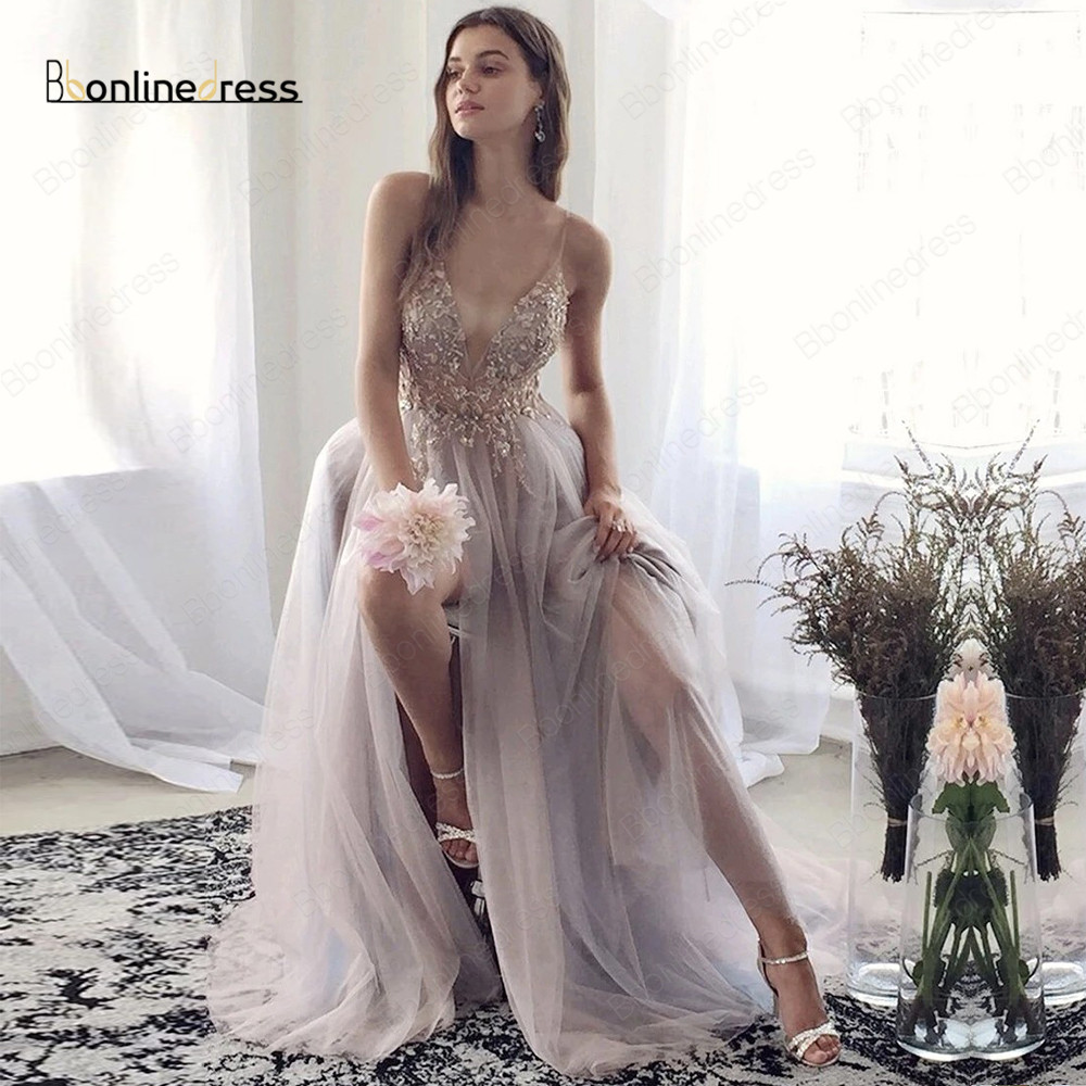 Bbonlinedress Luxury Prom Dress 2020 Beaded A-Line Spaghetti Strap Transparent Evening Dress Long Formal Prom Gowns Vestidos