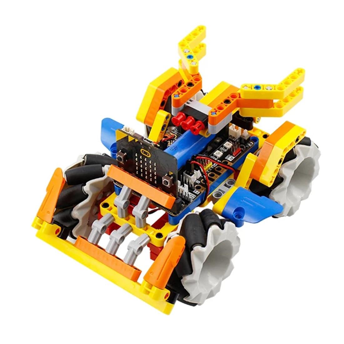 Program Intelligent Robot Building Block Kit Mecanum Wheel Robot Car For Micro: Bit  Programmable Toys For Kids Adults Gift