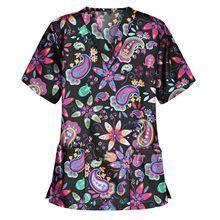 2021 New Floral medical uniforms Dentist Uniform srubs women set nursing uniforms uniforme medical femme blouse medicale femme
